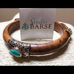 NEW BARSE Teakwood Turquoise Bangle Bracelet Brass